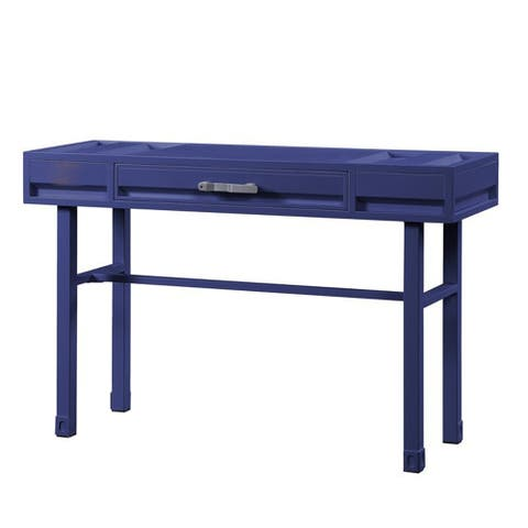 Industrial Style Metal and Wood 1 Drawer Vanity Desk, Blue