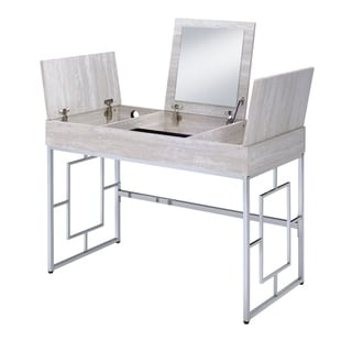Wood and Metal Vanity Desk with Lift Top Compartments,Silver and Brown