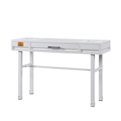 Industrial Style Metal and Wood 1 Drawer Vanity Desk, White