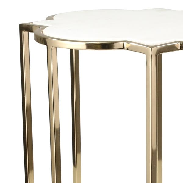 Shop Metal And Marble Accent Table With Quatrefoil Design Gold