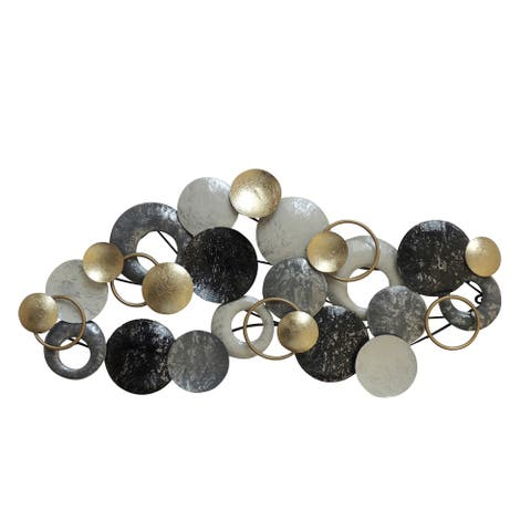 Metal Disc Wall Decor with Splotched Details, Gray and Gold