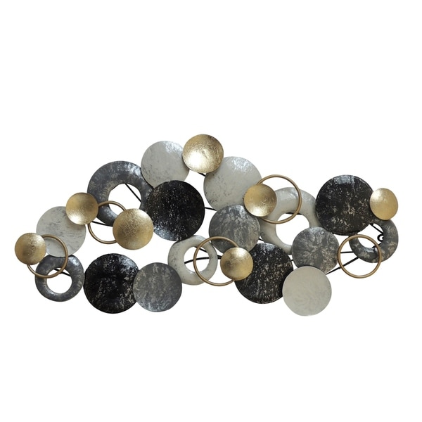 Metal Disc Wall Decor with Splotched Details, Gray and Gold. Opens flyout.