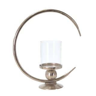 Metal Ring Candle Holder with Glass Hurricane, Large, Clear and Silver