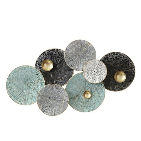 Round Metal Wall Decor with Perforated Ribbed Design, Multicolor