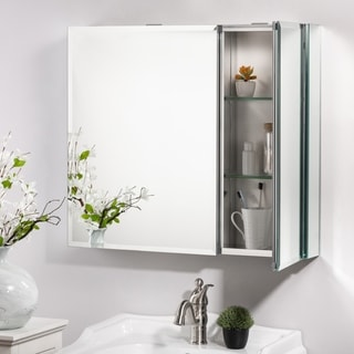 "Glitzhome 30""x 26"" Recessed or Surface Mount Frameless Medicine Cabinet with 2 Adjustable Shelves"