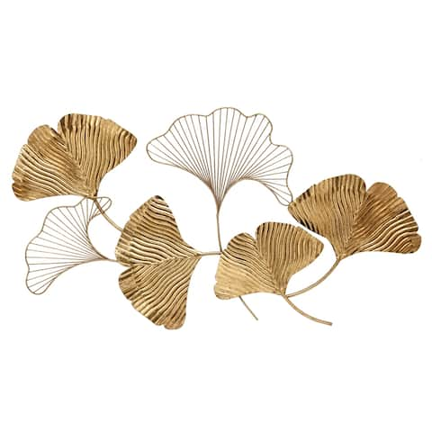 Decorative Metal Petal Wall Decor with Intricate Carvings, Gold