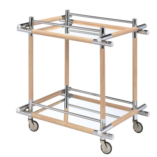 Mirror top Metal Industrial Serving Cart with Casters,Chrome and Beige