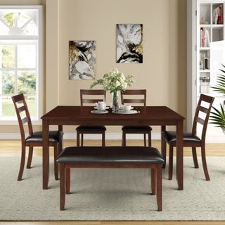 6pc Dining Set with 4 Ladder Chairs and Bench, Espresso