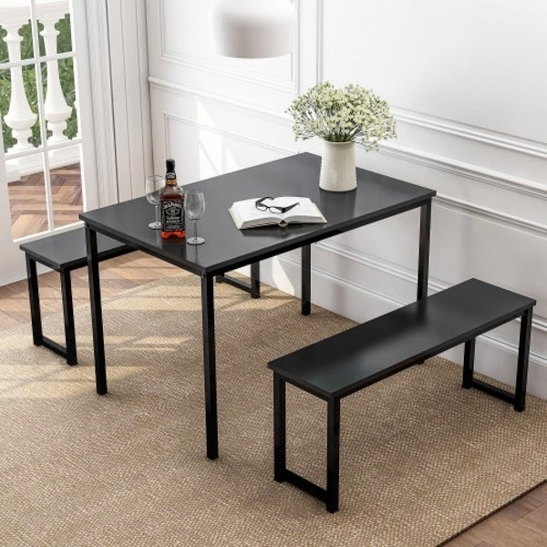Porch & Den Moorhen Black Finish 3-Piece Table and Bench Dining Set