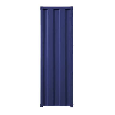 Industrial Style Metal Wardrobe with Recessed Door Front, Blue
