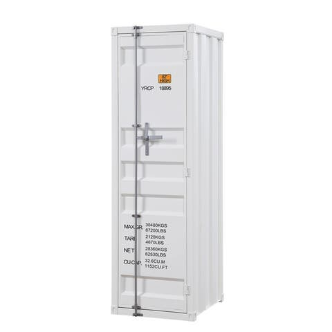 Industrial Style Metal Wardrobe with Recessed Door Front, White