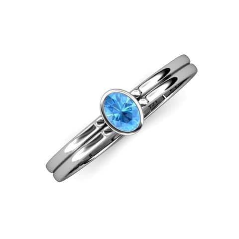 Trijewels Oval Cut Blue Topaz 1/2 ctw Solitaire Ring 14KW Gold