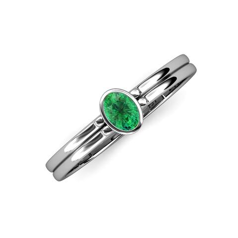 Trijewels Oval Cut Emerald 1/3 ctw Solitaire Ring 14KW Gold
