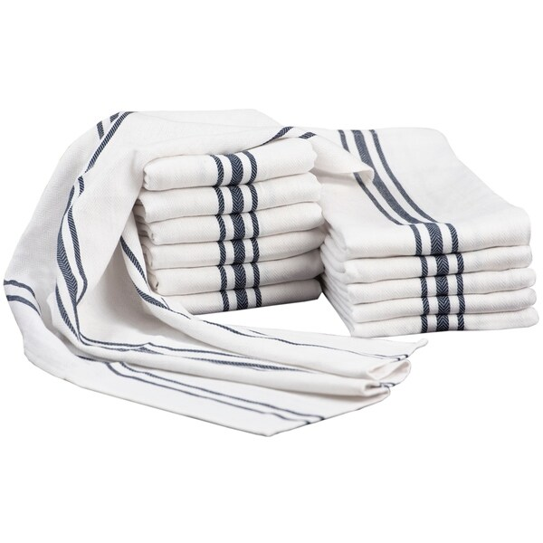 Glamburg 100% Cotton with Hanging Loop 12-Pack - 18x28 Dish Towels Absorbent Durable Washable