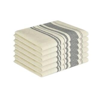 Glamburg 6 Pack 100% Cotton Vintage Stripe Kitchen Dish Towels 16x26, Tea Towels Cleaning Towels, Hanging Loop