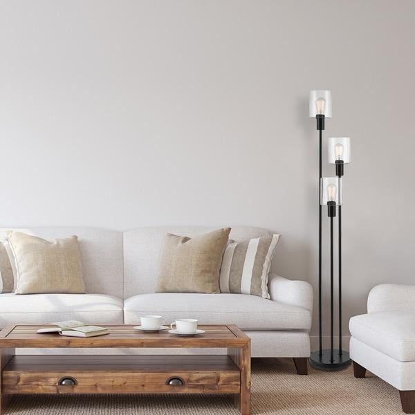 "Carbon Loft Mikkelsen 58"" 3-Light Floor Lamp Bronze Seeded Glass Shade. Opens flyout."