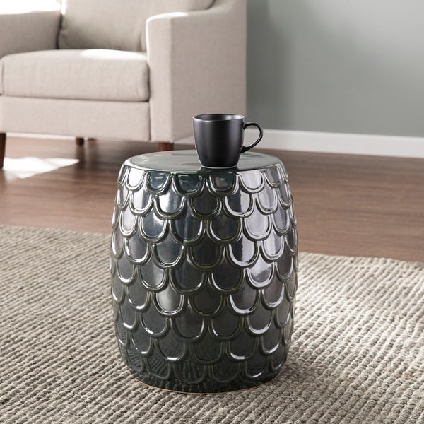 SEI Furniture Natalia Eclectic Blue Ceramic Accent Table. Opens flyout.