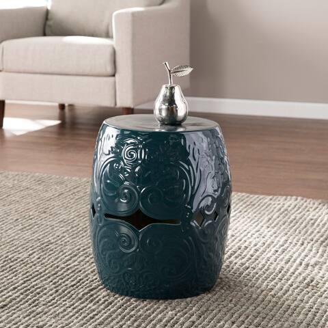 Norris Eclectic Blue Ceramic Accent Table