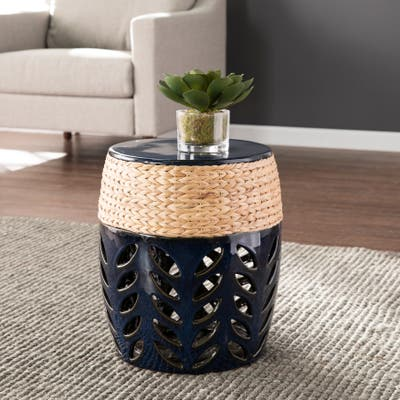 SEI Furniture Nash Coastal Blue Ceramic Accent Table