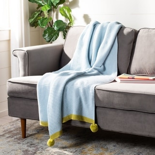 "Link to Safavieh 50"" x 60"" Runi Pom Pom Throw Similar Items in Blankets & Throws"