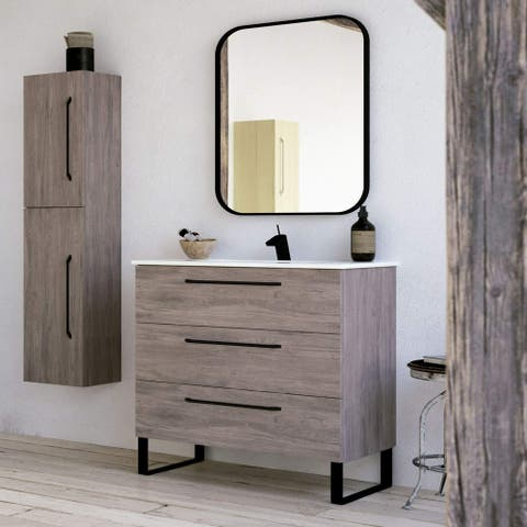 Modern Bathroom Vanity Cabinet Set Dakota Chicago Grey Oak Wood Black handles 32 x 33 x 18 in Cabinet + Ceramic Sink