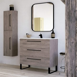 Modern Bathroom Vanity Cabinet Set | Dakota Chicago Grey Oak Wood | Black handles | 32 x 33 x 18 In Cabinet + Ceramic Sink