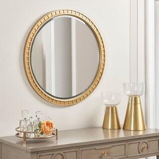 "Dauphin Round Gold Accent Wall Mirror, Golden Oak - 31.5""L x 1""W 1/8""H"
