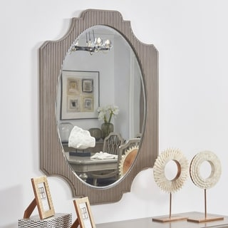 "Dauphin Fluted Oval Vanity Wall Mirror, Grey Cashmere - 37.80""L x 26""W x 0.98""H"