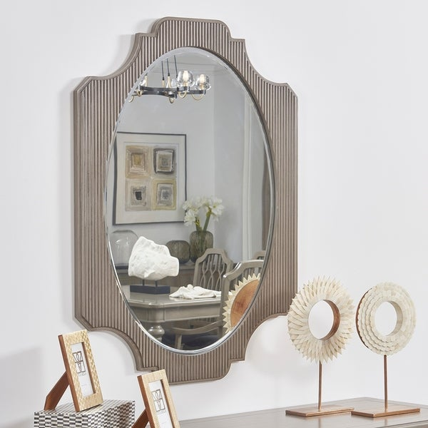 """Dauphin Fluted Oval Vanity Wall Mirror, Grey Cashmere - 37.80""""L x 26""""W x 0.98""""H"""