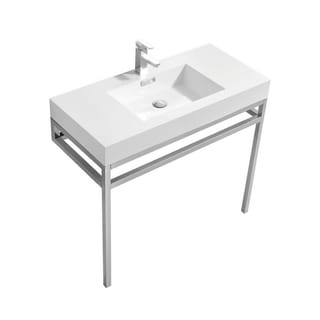 """Haus 40"""" Stainless Steel Console w/ White Acrylic Sink - Chrome"""