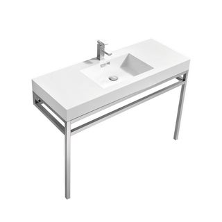 "Haus 48"" Stainless Steel Console w/ White Acrylic Sink - Chrome"