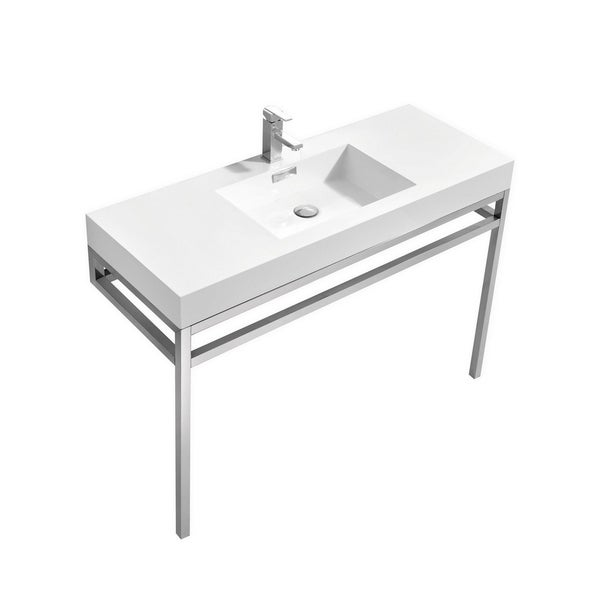 """Haus 48"""" Stainless Steel Console w/ White Acrylic Sink - Chrome"""