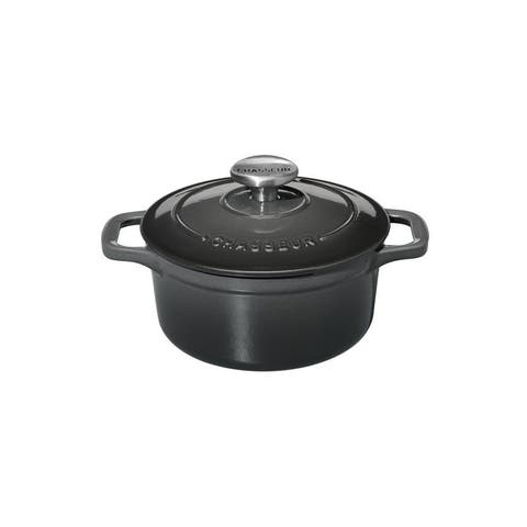 Chasseur French Cast Iron 1-quart Round Dutch Oven, Caviar Grey