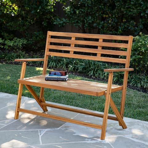 Baillon Outdoor Natural Wood Bench by Havenside Home