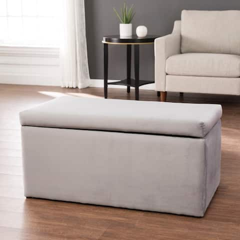 Jemmie Transitional Grey Velvet Fabric Ottoman