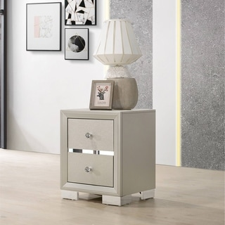 Best Quality Furniture Silver Champagne Nightstand w/ Chrome Legs Only