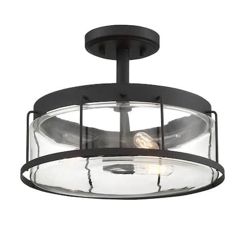 Carbon Loft Cranston Black 3-light Semi-flush Mount
