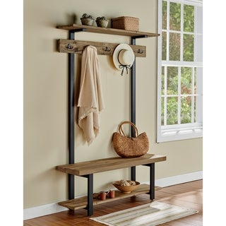 Link to Carbon Loft Lawrence Entryway Hall Tree with Bench and Coat Hooks Similar Items in Living Room Furniture