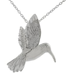 Journee Collection Sterling Silver Large Humming Bird Necklace