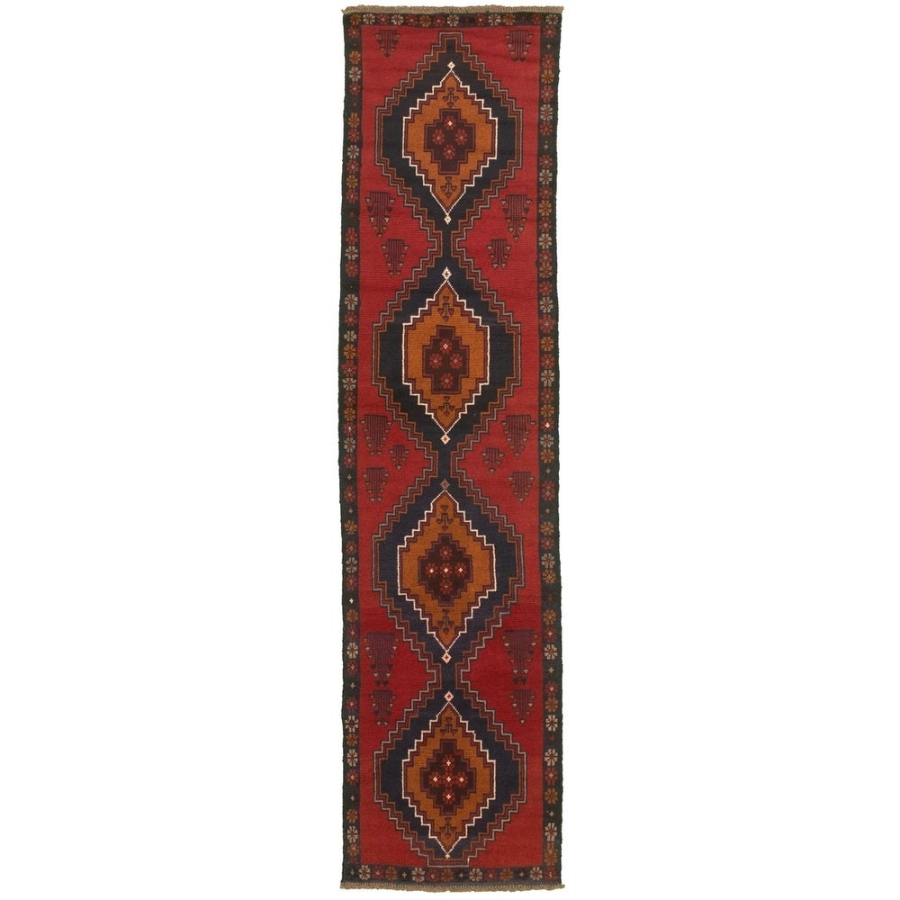 Hand-knotted Baluch Red Wool Rug - 2'6 x 9'6