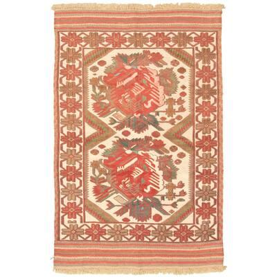 Hand-knotted Tajik Caucasian Cream Wool Rug