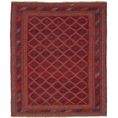 Hand-knotted Tajik Red Wool Rug