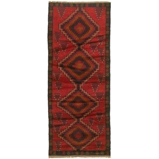 Hand-knotted Baluch Red Wool Rug - 2'7 x 6'3