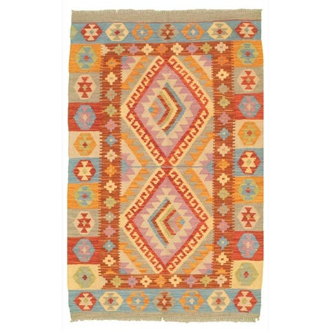 Flat-weave Bold and Colorful Cream, Copper Wool Kilim