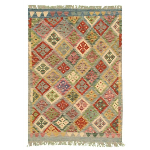 Flat-weave Bold and Colorful Copper, Blue Wool Kilim