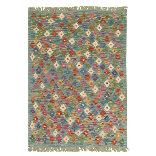 Flat-weave Bold and Colorful Blue Wool Kilim. Opens flyout.