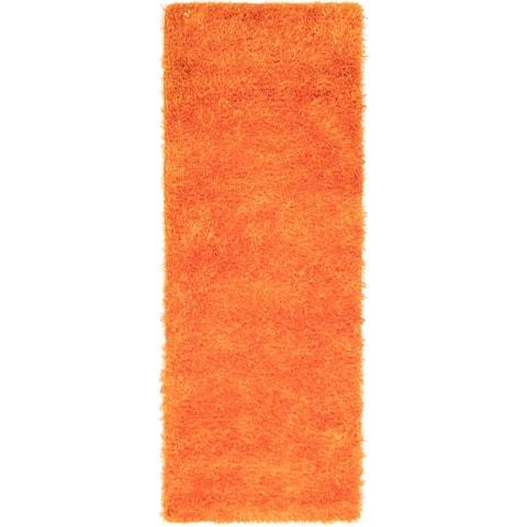 Hand-knotted Retro Plush Orange Shag