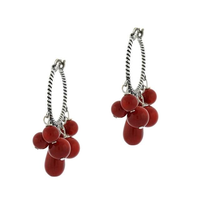 Glitzy Rocks Sterling Silver Hoop Earrings with Coral Drops
