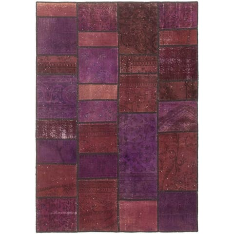 Hand-knotted Color Transition Patchwork I Purple Wool Rug - 4'9 x 6'9