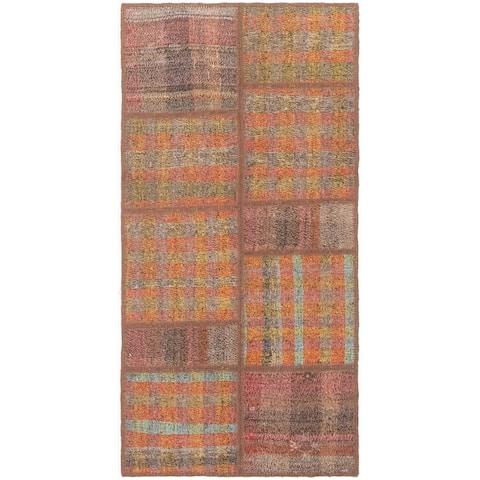 Flat-weave Moldovia Patch Brown, Green Cotton Kilim - 2'8 x 5'3